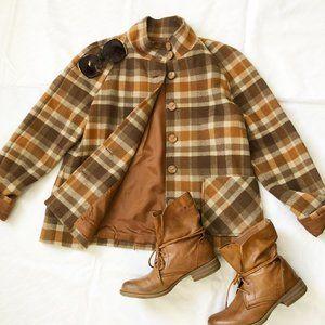 600 West brown wool plaid jacket